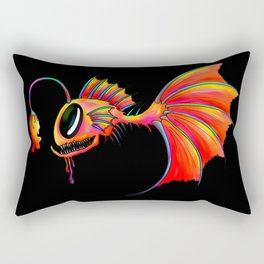 Orange Angler Terror FIsh from the Deep Sea Rectangular Pillow