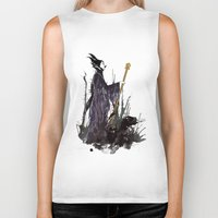 maleficent Biker Tanks featuring Maleficent by Louise Hubbard