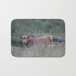 Higland Cow On The Lookout Bath Mat
