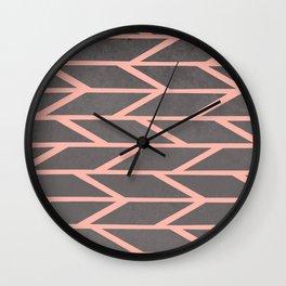 Modern blush pink stripes chevron geometric grey concrete cement background Wall Clock