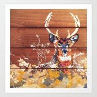 Deer in the Flowers Art Print