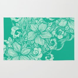 Floral Flow- Teal Rug