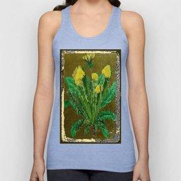 Antique Style Grundy Avocado Color Dandelion Print Art Unisex Tank Top