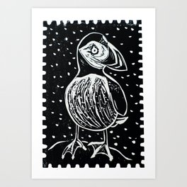 Puffin in rain Art Print
