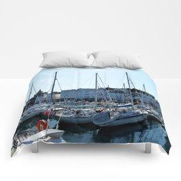 Sunlit Harbour Comforters