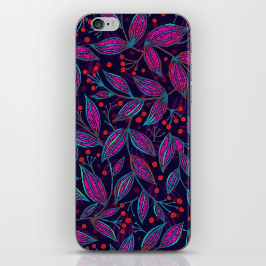 RED BERRIES PINK LEAVES iPhone & iPod Skin