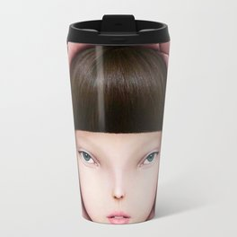 head of girl in rose petal with key in his hand Travel Mug