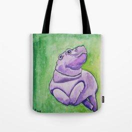 Baby Hippo Watercolor Tote Bag
