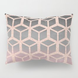 mauve ombre with rose gold hexagons Pillow Sham