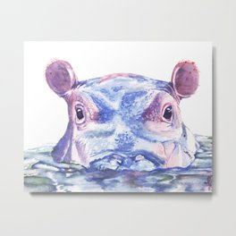 Happy Hippo Fiona Metal Print