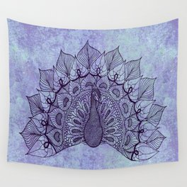 Doodle Peacock Purple Wall Tapestry