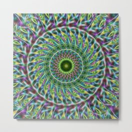 Psychedelic abstract palm frond kaleidoscope Metal Print