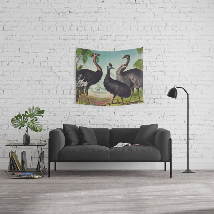 Vintage Illustration of Ostriches (1874) Wall Tapestry