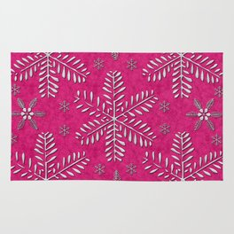DP044-7 Silver snowflakes on pink Rug