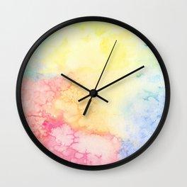 Rainbow Clouds Watercolor Wall Clock