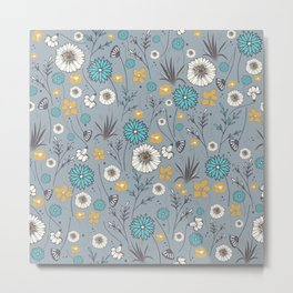 Emma_Wildflowers in Faded Denim Blue Metal Print