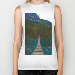 Suspension Bridge along the Berg Lake Trail in British Columbia, Canada Biker Tank