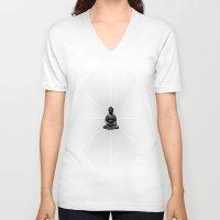 buddah V-neck T-shirts featuring Spacial Energy Buddah Mesh by Federico Sananes