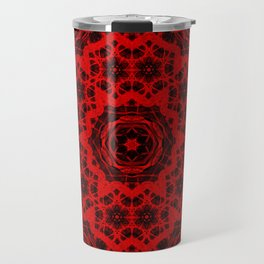 Vibrant red and black wattle mandala Travel Mug