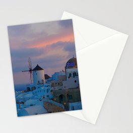 Santorini, Oia Greece, Windmill Sunrise Stationery Cards