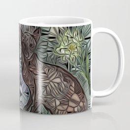 Twin Siamese Glasswork  (green background) Coffee Mug