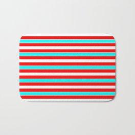 Red, Turquoise & White Stripe Bath Mat