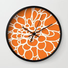 orange dahlia Wall Clock