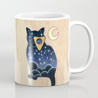 ouija Mugs featuring Ouija Cat by Kiki Stardust