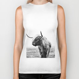 Highland Cow Art Biker Tank
