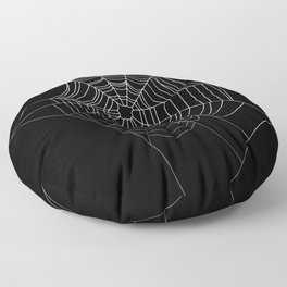 Spider Web Art | Halloween Collection | Spooky | Scary | Vector Art | Black and White Floor Pillow