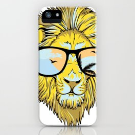 Cool Hipster Lion with Sunglasses iPhone Case