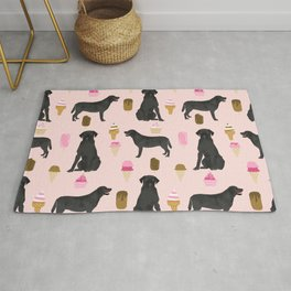 black lab ice cream dog breed pet portrait gifts for labrador retriever lovers Rug