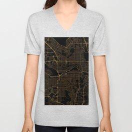 Black and gold Calgary map Unisex V-Neck