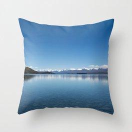 Blue line landscape Throw Pillow