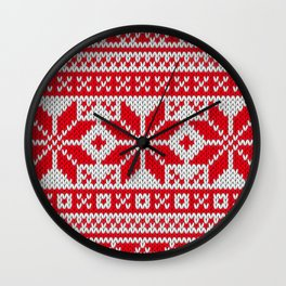 Winter knitted pattern 6 Wall Clock