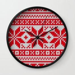 Winter knitted pattern 6 Wall Clock