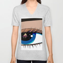 The Eye looking out at the Water at a Boat Unisex V-Neck
