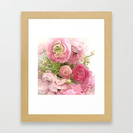 Shabby Chic Cottage Ranunculus Peonies Roses Floral Print Home Decor Framed Art Print