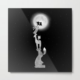 Conquering The Moon - black and white Metal Print