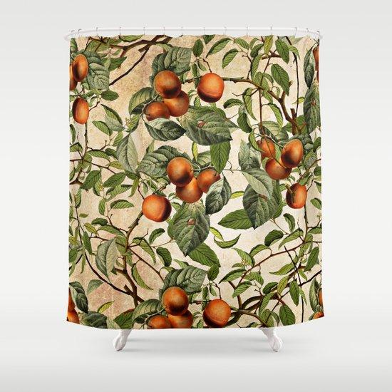 Vintage Fruit Pattern Shower Curtain By Burcu Korkmazyurek