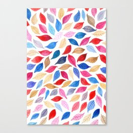 Colorful leaves pattern in watercolor Canvas Print