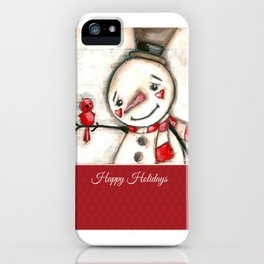 Red  Bird and Snowman - Christmas Holiday Art iPhone Case