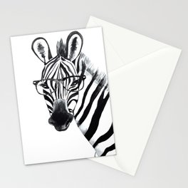 Zebra with glasses, black and white Stationery Cards