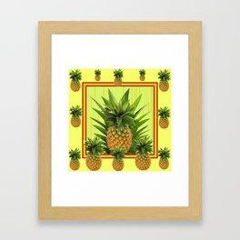 MODERN GREEN-YELLOW  HAWAIIAN PINEAPPLE ART Framed Art Print