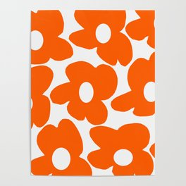 Orange Retro Flowers White Background #decor #society6 #buyart Poster