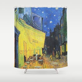 Café Terrace at Night by Vincent van Gogh Shower Curtain