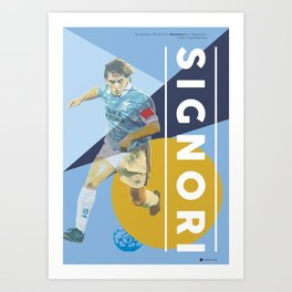 Beppe Signori SS Lazio / Serie A Superstar Football Player Art Print