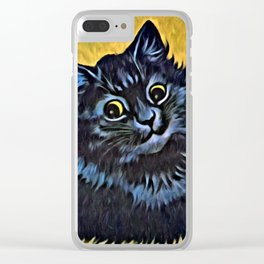 Louis Wain's Cats - Black Cat Clear iPhone Case