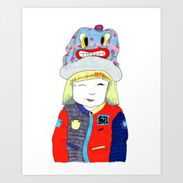 Wink Girl Art Print