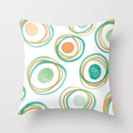 Watercolour Circles #2 | Orange and Green Palette Throw Pillow